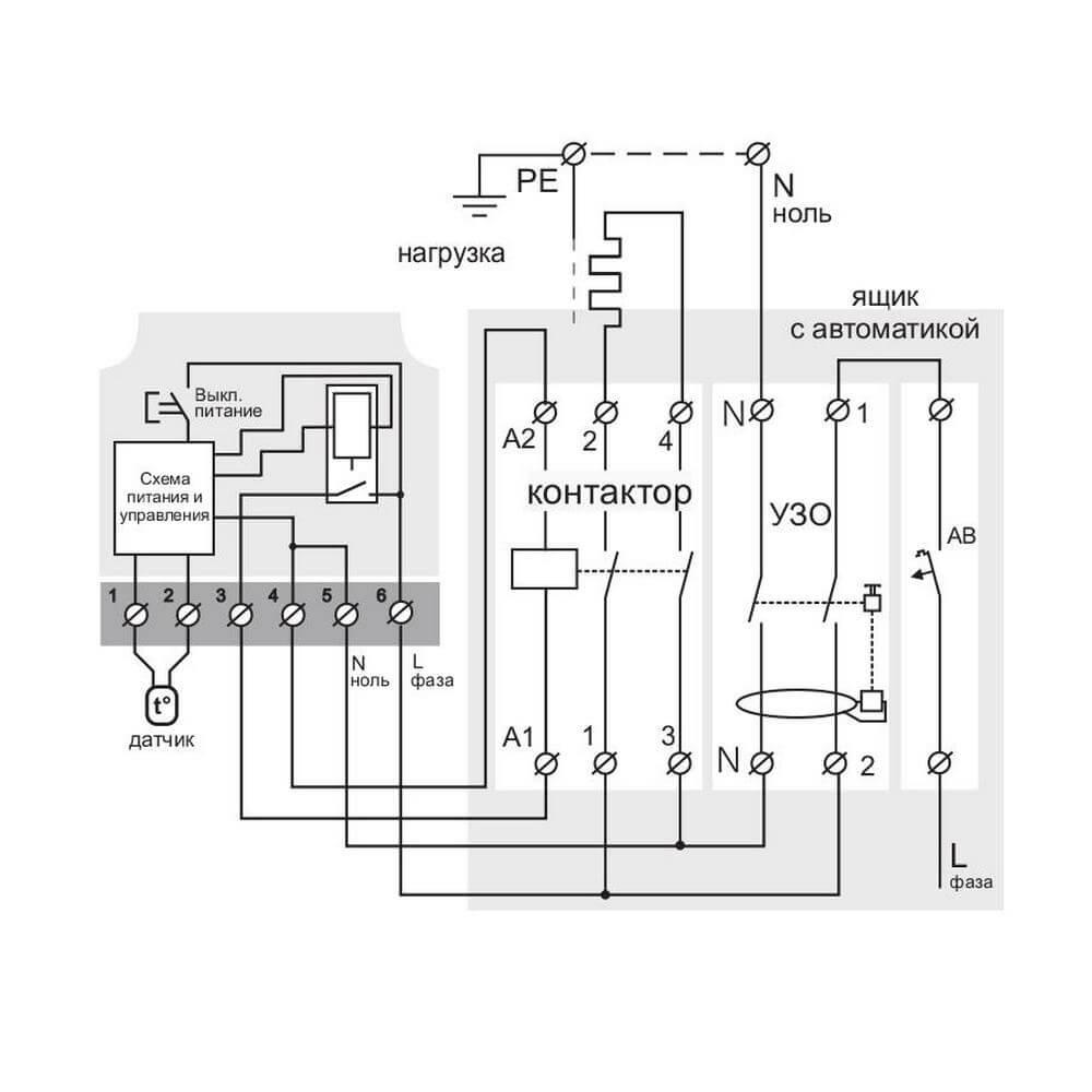 Подключение Terneo mex через магнитный пускатель
